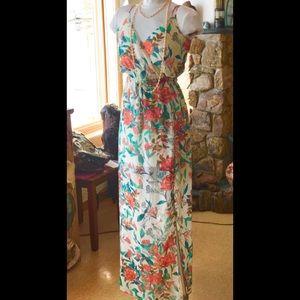 Guess Floral Chiffon Overlay Tie Waist Maxi NWT